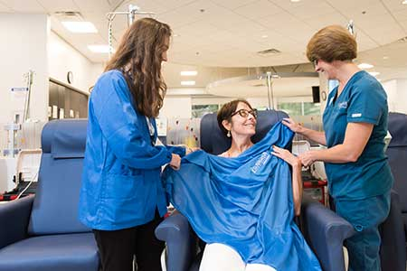 patient with volunteer